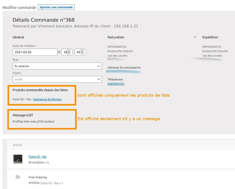 ADMIN Commande Woocommerce Detail Produits Liste Message Ilist