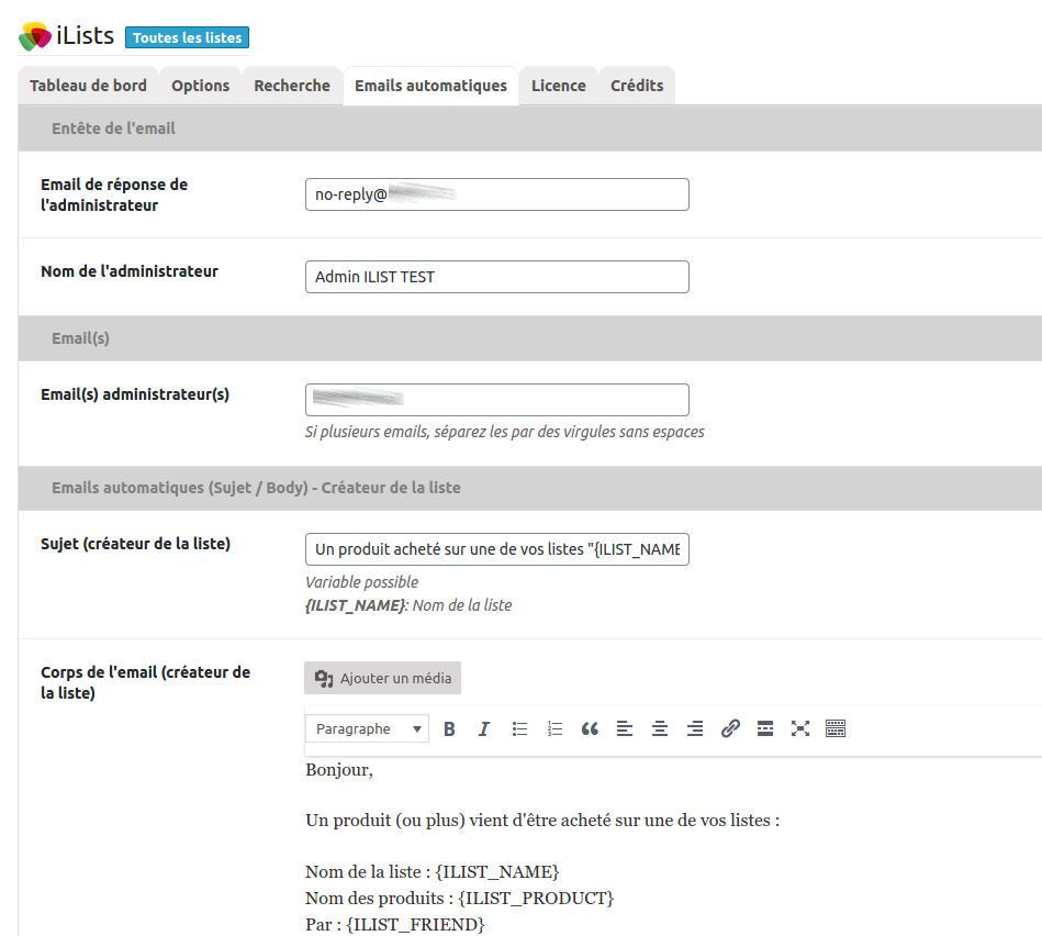 Ilist Options Emails