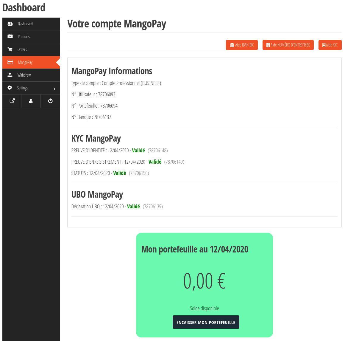 Wcgatewaymp Vendor Mangopay Dashboard Pro Wallet 0